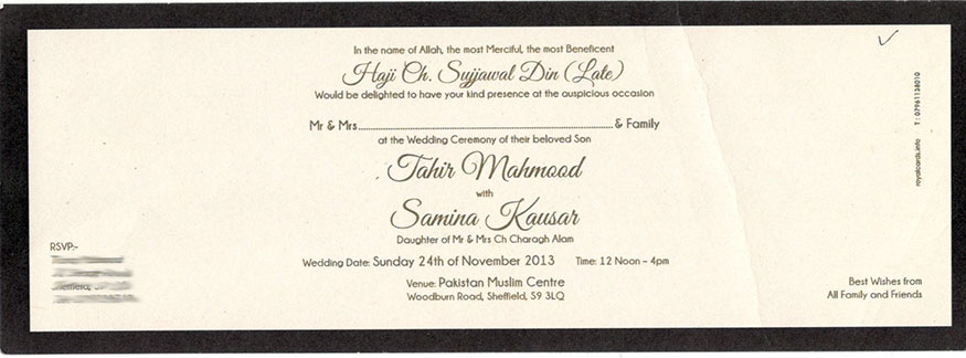 Card Inlay Text Examples Royal Shaadi Cards Bradford