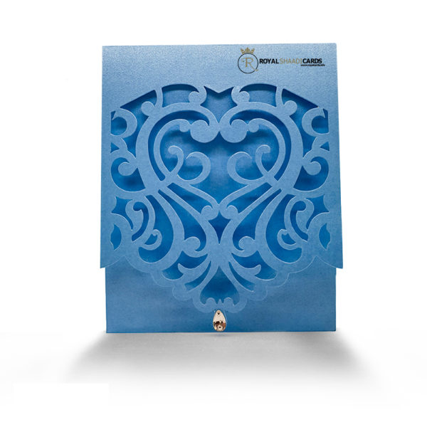 light blue laser cut wedding card
