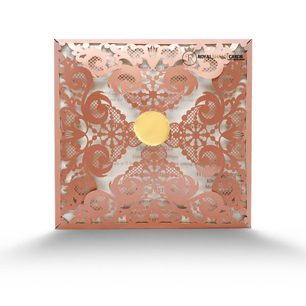 Rose Gold laser wedding card