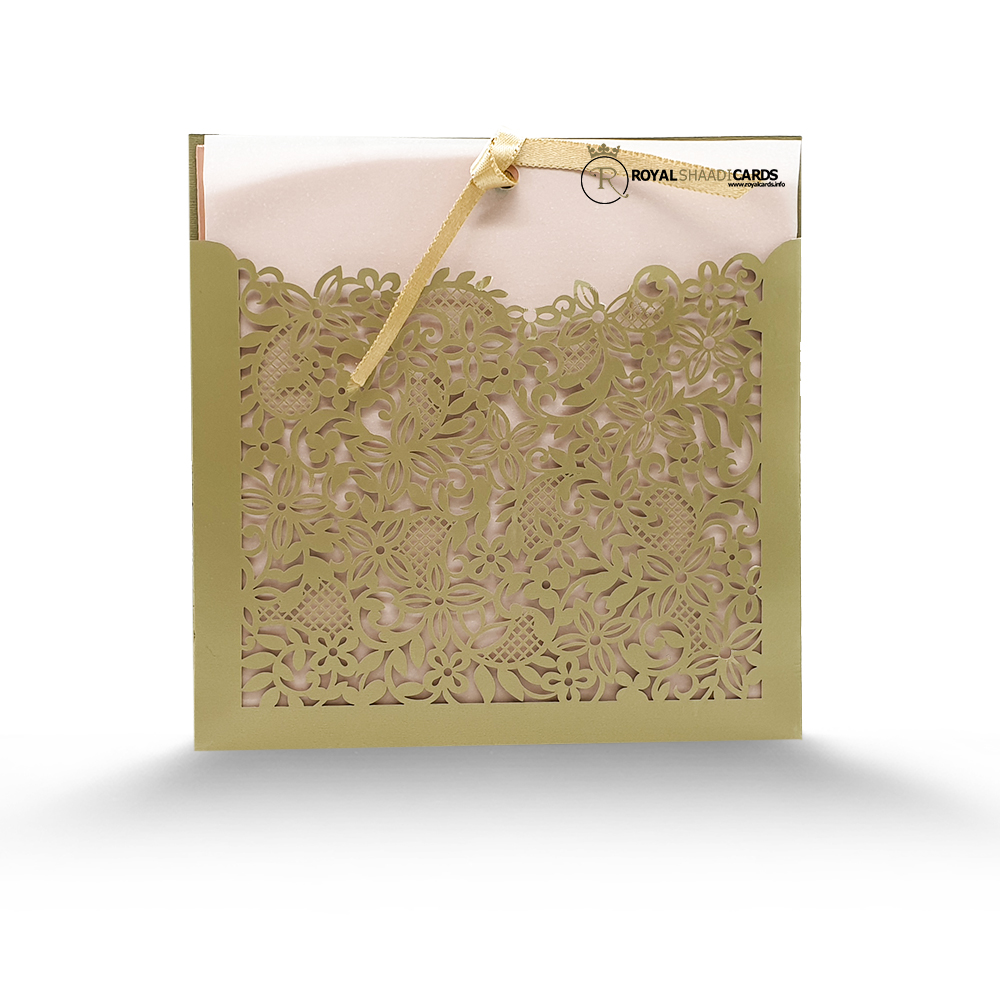 green laser wedding card