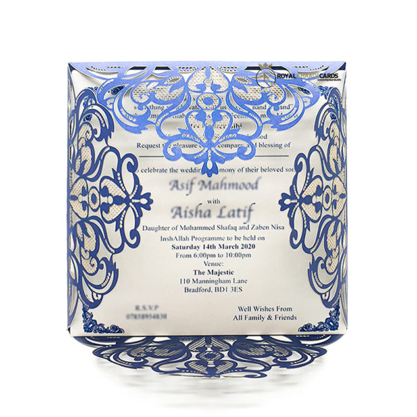 Laser cut Royal Blue Wedding card