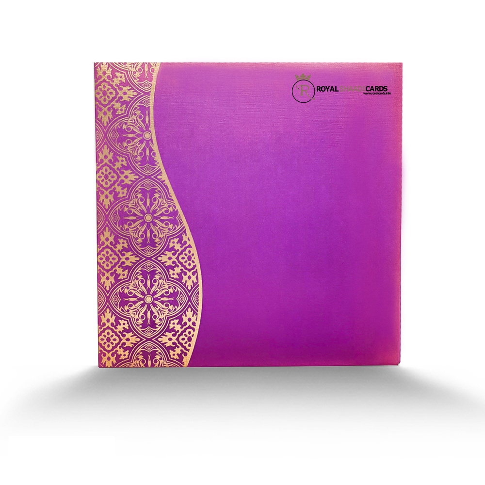 Purple Gold asian wedding Card