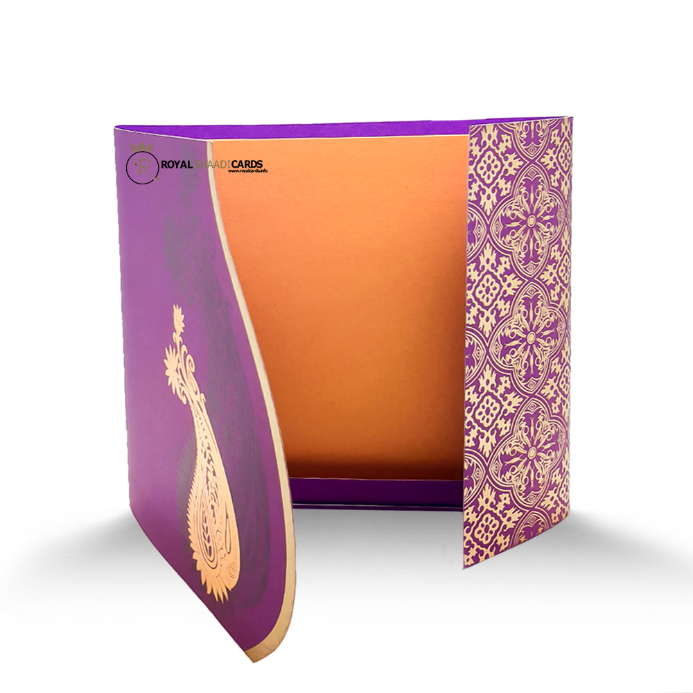 Purple Gold wedding Card
