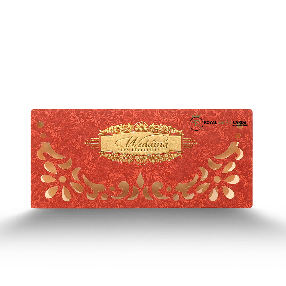 red gold wedding card