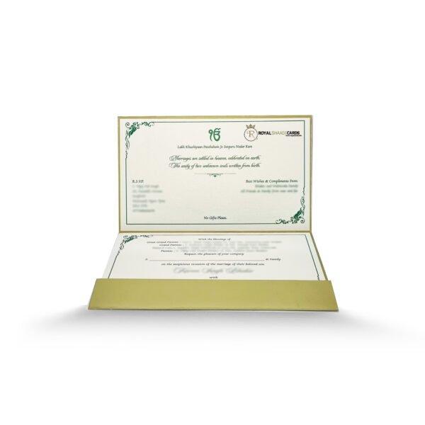 Dark Green Indian asian wedding Card Inside