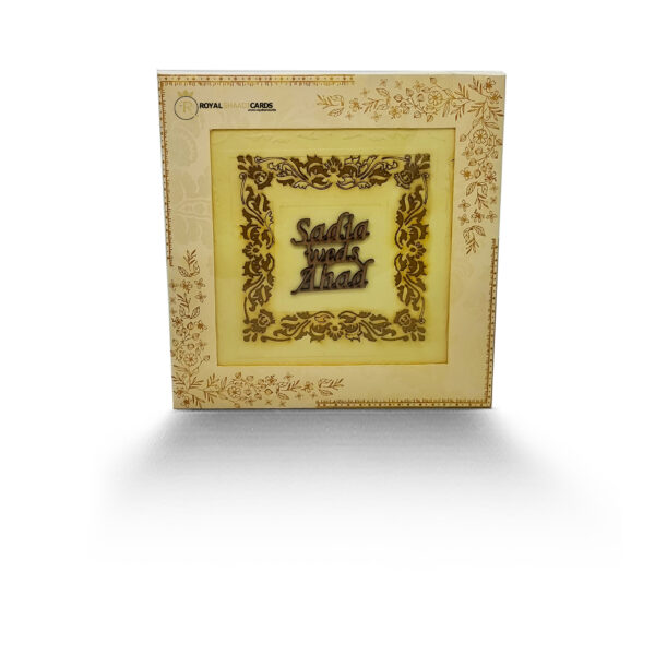 Gold Floral Square Asian Wedding Card