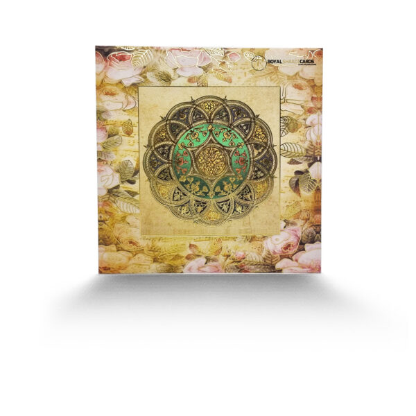 Gold Square Asian Wedding Card