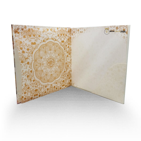 Gold Square Asian Wedding Card Inside