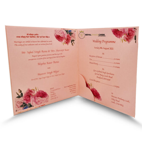 Pink Floral Square shaadi Card Inside