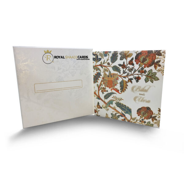 White Floral Square asian wedding Card