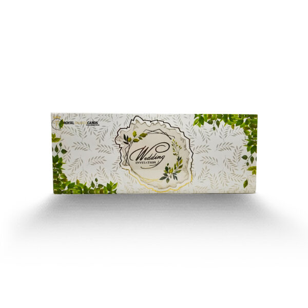 White and Green Floral Shaadi Card