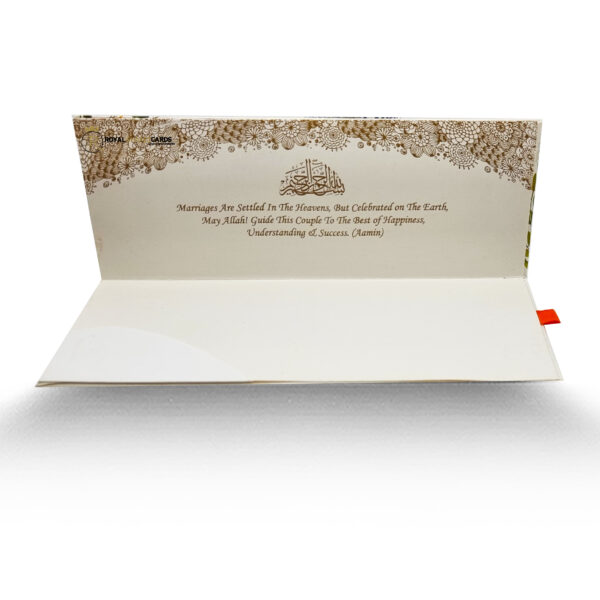 White and Green Floral Shaadi Card Inside